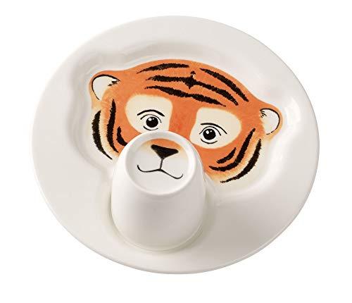 Villeroy & Boch Animal Friends Teller mit Becher, Tiger, Premium Porzellan, Weiß, 22.5 x 22.5 x 12 cm, 2-Einheiten