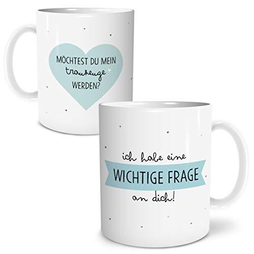 OWLBOOK Frage Trauzeuge Große Kaffee-Tasse mit Spruch im Geschenkkarton Geschenke Geschenkideen für Trauzeuge zur Hochzeit