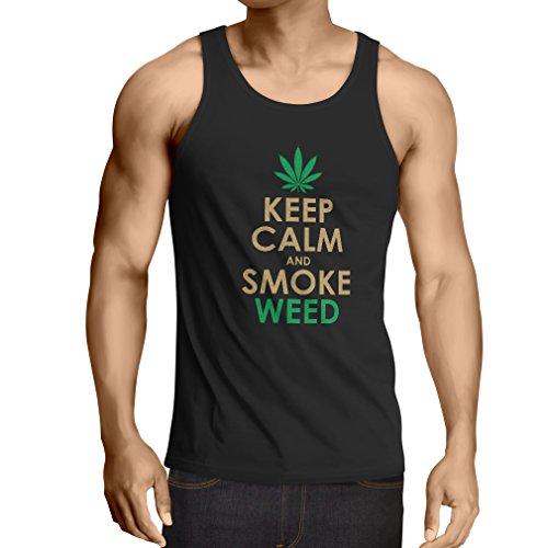lepni.me Camisetas de Tirantes para Hombre Mantener la Calma y Humo - Hoja de Marihuana (Medium Negro Oro)