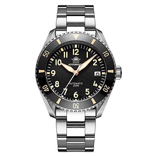 ADDIESDIVE Reloj de piloto Divers 200M Esfera texturizada negra Cristal de zafiro sintético, curvado en ambos lados