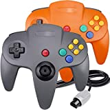 2 Packs N64 Controller, King Smart Wired N64 Controllers with Upgraded Joystick for Original Nintendo 64 Console (Gray & Orange)