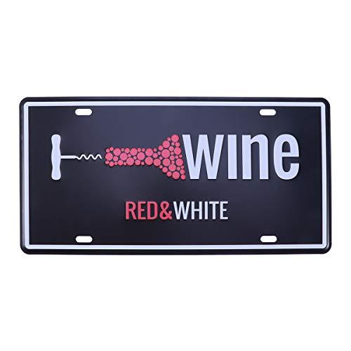 VORCOOL Vino Blanco y Rojo Vintage Carteles de Chapa Bar Pub Inicio Decoración de Pared Retro Metal Art Poster