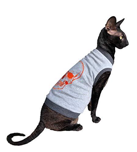 Kotomoda sphynx Katzen-T-Shirt Stickerei ORANGE SCULL #2