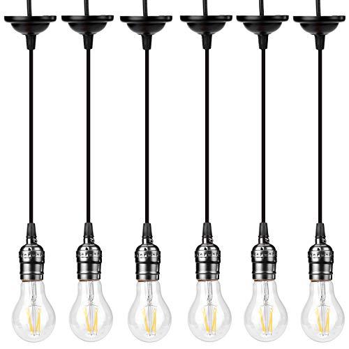 ACBungji 6 portalámparas vintage E27 de aluminio, portalámparas para lámpara colgante de mesa de comedor, sin bombilla, para lámpara DIY (sin interruptor)