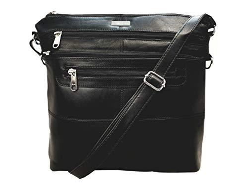 Quenchy Londen dames schoudertas, designer handtas schoudertas gemaakt van zacht leer met individuele riem en 7 zakken, zwart, H25 cm x B26 cm x T8 cm, QL922K