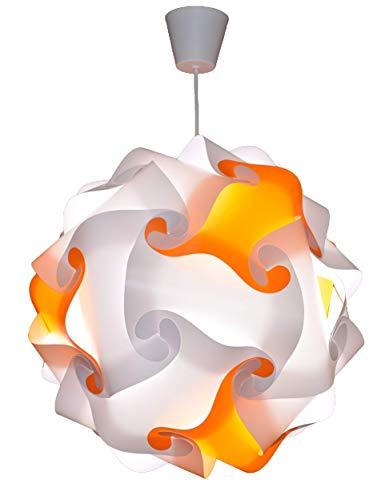 CREATIV LAMP - Suspension Luminaire - Lustre Chambre Prêt à Être Branché | Abat-Jour à Suspendre au Plafond| | Pour Décoration Salon, Chambre Enfants, Ado, Adultes - Ø34 cm - Mix Orange