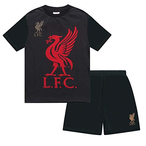 Liverpool FC Official Soccer Gift Boys Sublimation Short Pajamas Black 2-3 Yrs