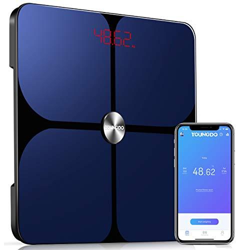 YOUNGDO Pèse Personne Impédancemètre ITO, Balance Connectée, Balance Pèse Personne, 23 Données Corporelles(IMC/Taux de Graisse/Poids Osseux, etc), 999 Utilisateurs, pour Android et iOS