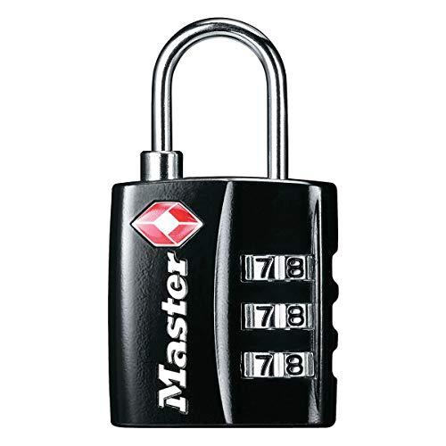 Master Lock 4680EURDBLK Candado para Equipaje Aprobado por la TSA con Combinación, Negro, 5,5 x 3 x 2,6 cm