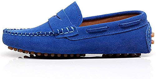 Shenn Boys' Cute Slip-On Royal Blue Suede Leather Loafers Shoes S8884 US4