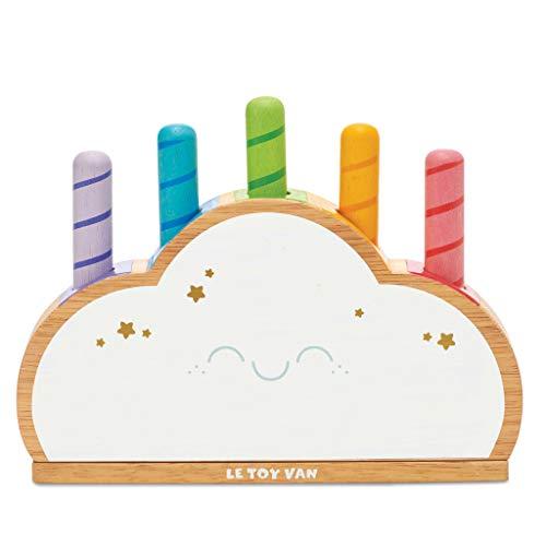 Le Toy Van PL133 - Giocattolo Montessori in Legno a Forma di Nuvola, Colore: Arcobaleno