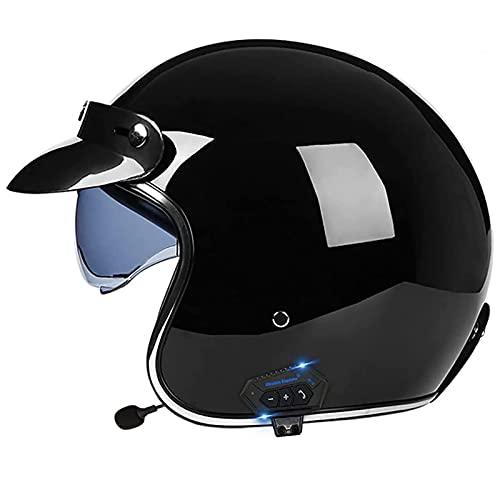 Casco de motocicleta Bluetooth, casco de cuero PU 3/4 Motocicleta con visor ECE aprobado Crash Vintage Jet-Casco para adultos para el ciclista Motorista Cruiser Scooter Touring Casco,Negro,S