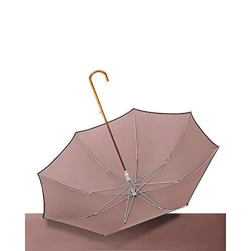 AXB Automatische Sonnencreme-Regenschirme, goldene Gebogene Bing-Reine Farbbedeckte Regenschirm, klappender Regenschirm Superior-Leistung geeignet für: Reisen, Dating,Braun