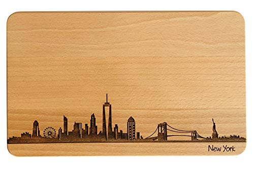 Brotzeitbrett New York Skyline | Frühstücksbrettchen aus Buche | Holz Schneidbrett | Geschenk mit Gravur | Frühstücksbrett | USA | Amerika (Standard (22x14x1cm), ohne persönlicher Gravur)