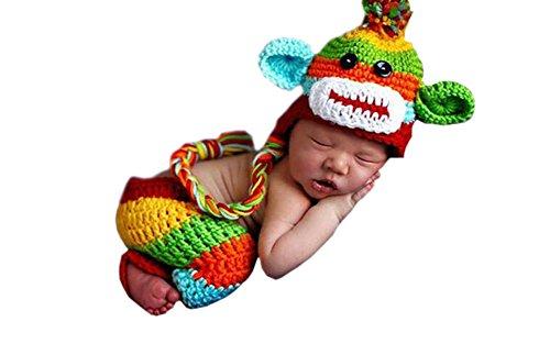 DELEY Unisexe Bébé Rainbow Monkey Costume de Bébé au Crochet Tricot Chapeau de Pantalon de Photo Accessoires de 0 à 6 Mois