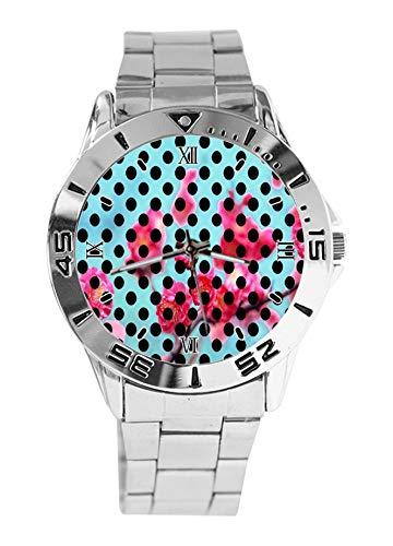 Reloj de Pulsera analógico de Acero Inoxidable con diseño de Lunares y Flores, Resistente al Agua, para Hombre, Esfera de Moda, Estilo Casual