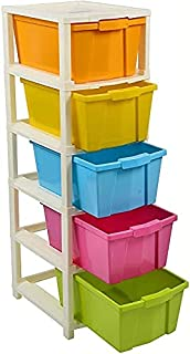 I K IMPEX 5 Layer Plastic Modular Drawer For Home; Office; Hospital Foldable Organizers Box Multi-color