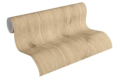 A.S. Création Vliestapete Best of Wood`n Stone 2nd Edition Tapete in Holz Optik fotorealistische Holztapete 10,05 m x 0,53 m beige braun Made in Germany 300434 30043-4
