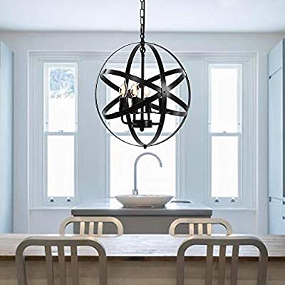 Farmhouse Rustic Chandelier Industrial Pendant Lighting Fixture with Metal for Dining Room, Kitchen , Foyer, Living Room, Bedroom (4 Light - Black)