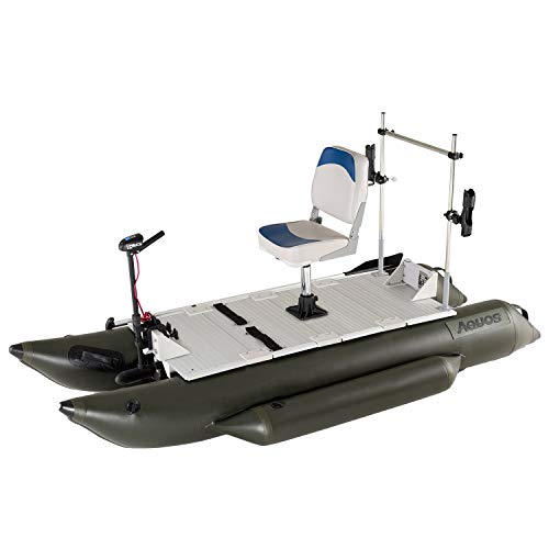 Big Save! AQUOS Heavy-Duty 2020 New 8.8 ft Inflatable Pontoon Boat with Grab Bar and FoldingSeat and...
