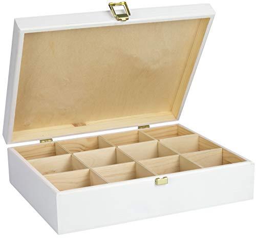 LAUBLUST Große Teekiste 12 Fächer - 29x22x8cm, Weiß, Holz FSC® - Teebox aus Holz mit Verschluss...