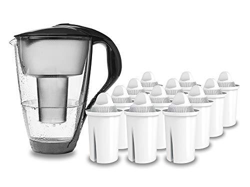 PearlCo - Glas-Wasserfilter (anthrazit) mit 12 classic Filterkartuschen - passt zu Brita Classic