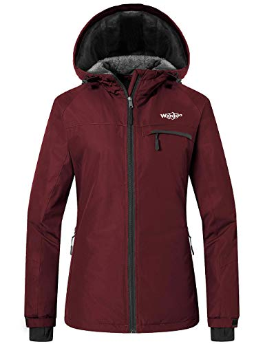 Wantdo Women's Waterproof Ski Jacket Winter Traveling Snow Coat Wine Red S