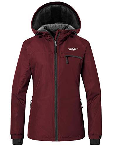 Wantdo Women's Warm Snow Jacket Winter Outwear Traveling Raincoat Wine Red S