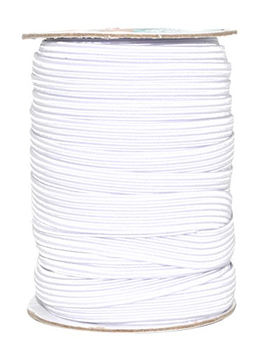 Mandala Crafts Flat Elastic Band, Braided Stretch Strap Cord Roll for Sewing and Crafting; 1/2 inch 12mm 20 Yards White