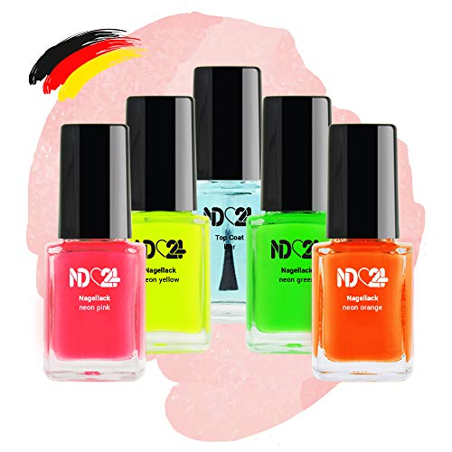 Neon Nagellack Set - 4 Farben - Pink Orange Gelb Grün + Top Coat Klar - Made In Germany (4 x 12ml)