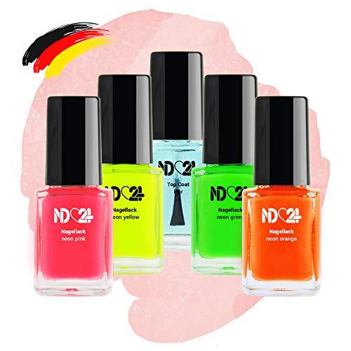 Neon Nagellack Set - 4 Farben - Pink Orange Gelb Grün + Top Coat Klar - Made In Germany (4 x 12ml)