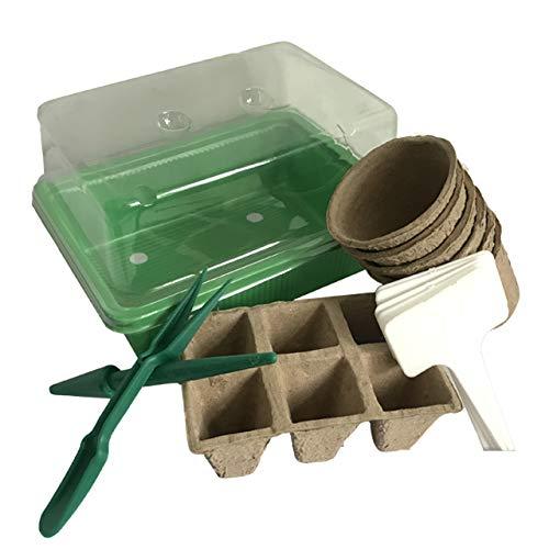 Hydroplane - Kit mini serra per germinazione, vassoio per semina con vassoi e vasetti, 100% biodegradabili + etichette per piantare e accessori per germinare tutti i vostri semi facilmente.