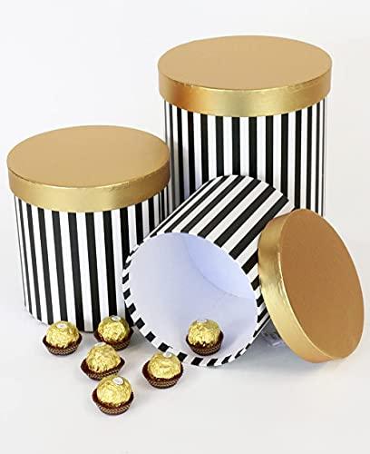 Juego de 3 cajas de flores a rayas rosa/blanco, negro/blanco con tapa lisa, cajas redondas para almacenamiento, cajas de sombreros para regalos, almacenamiento y decoración