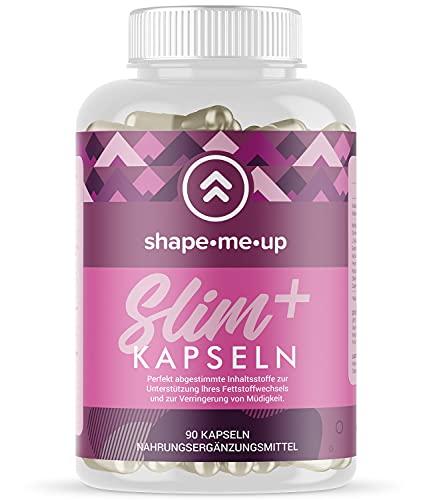 Shape Me Up® Slim Plus – Kapseln für einen normalen Stoffwechsel mit Pflanzenstoffen, Vitaminen und Cholin – mit Grüner Tee Extrakt und Guarana – 90 Kapseln