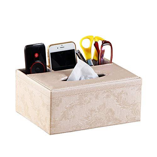 Manswill Teapoy Organizador de mando a distancia y caja de pañuelos, piel sintética, multifuncional, mesa de escritorio, bolígrafo/lápiz, contenedor de almacenamiento de teléfono para oficina en casa