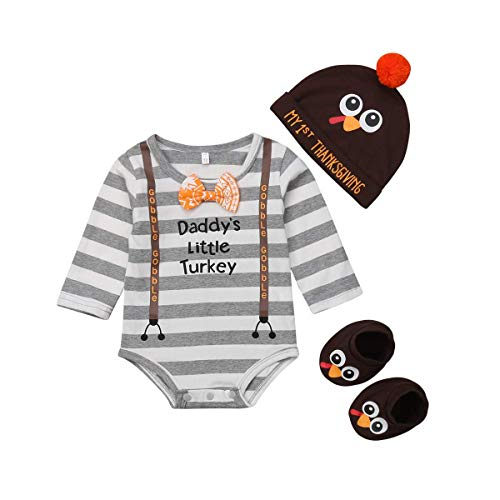 Newborn Infant Baby Boy 3pcs Thanksgiving Outfit Daddy's Little Turkey Long Sleeve Romper Turkey Hat Socks Set (80/6-9M, Brown+Grey)