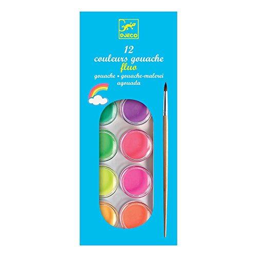Djeco 12er Wasserfarbkasten Cake Pearly Neon