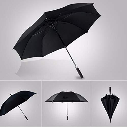 KMMK Sun and Rain Umbrella,Parasol Umbrella Sunblock Uv,Sun Shade Umbrella-Umbrellas Black Reinforcement Double Men Commerce Windproof Straight Shank Large Long,123cm