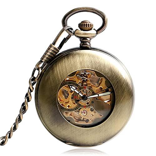 ZIYUYANG Reloj de Bolsillo,Reloj de Bolsillo de Viento automático Colgante de Bronce de Moda Esqueleto Retro Suave Neutral Mecánico automático Moda Regalo de acción de Gracias