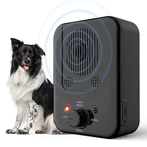 Queenmew Dispositivo Anti-ladrido, disuasivos ultrasónicos de ladridos para Perros con 3 Modos de frecuencia, ladrido sónico Impermeable para Control de ladridos.