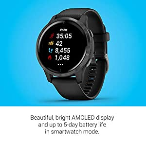 Garmin Venu, GPS Smartwatch with Bright Touchscreen Display, Features Music, Body Energy Monitoring, Animated Workouts, Pulse Ox Sensor and More, Black, 010-02173-11