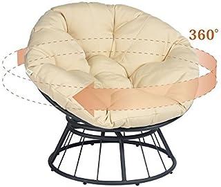 ART TO REAL Silla Papasan giratoria de lujo 360 con cojín suave, para patio al aire libre, silla mecedora giratoria, silla de luna de asiento profundo, cojín naranja de tela de sarga sólida (Khaki)