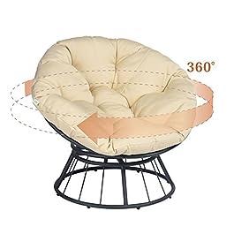 ART TO REAL Chaise papasan de luxe pivotante à 360° avec coussin doux – Chaise longue à bascule pivotante – Chaise…