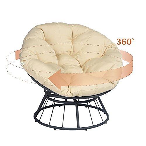 ART TO REAL Chaise papasan de luxe pivotante à 360° avec coussin doux - Chaise longue à bascule pivotante - Chaise longue longue à assise profonde - Coussin orange en tissu sergé solide (Kaki)