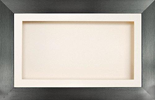 Anika-Baby écran 17,8 x 33 cm/33 x 17,8 cm Boîte en bois Cadre en effet étain avec carte Passe-partout crème et carte de dos, façade en verre 36,8 x 21,6 cm