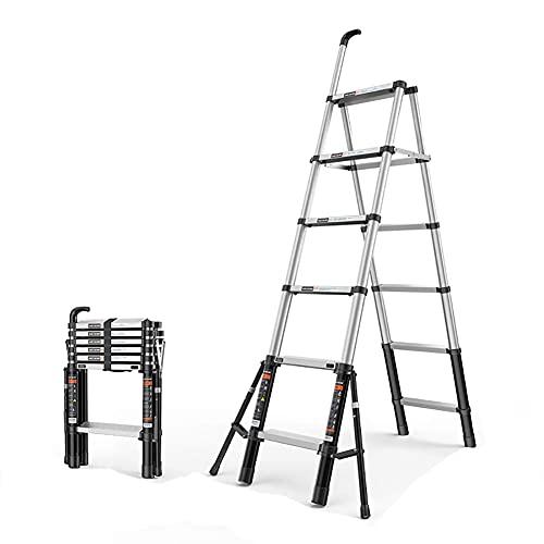 Escalera Extensible Escaleras telescópicas Plegables Escalones Plegables, Edificio de jardín para el hogar, Aleación de Aluminio Espesa (Color: A, Tamaño: 6 Pasos) Escalera telescópica