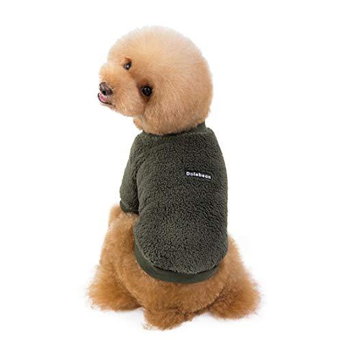Ertkuee Fashion zachte warme kleine hond jassen, schattige Chihuahua kerst outfits (roze S), L:Chest47cm/Back30cm, Groen