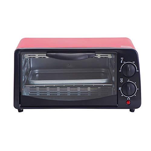 Mini horno rojo 38L, horno eléctrico 800W, horneado multifunción durante 60 minutos, horno de encimera con cronometraje, bajo consumo de energía, tostadora rápida, horno