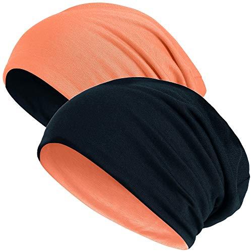 Hatstar Slouch Long Beanie Reversible Strickmütze 2 in 1 Wintermütze in 48 Farben (orange/schwarz)