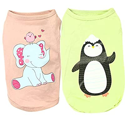 Dog Shirts,Pet Dog T Shirt Cloth Puppy Dog Cat Vest Doggie Clothing Apparel Costume Female Male for Small Dog-2pcs (S:Back Length:20cm,Chest size:25cm, Elephant)